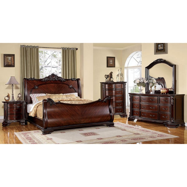 brown cherry baroque style sleigh bed with nightstand bedroom set