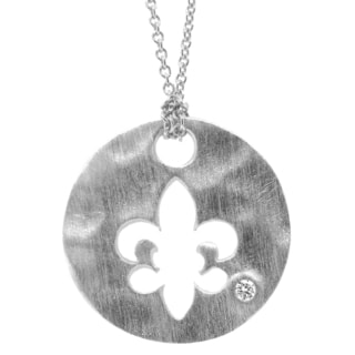 Gioelli Sterling Silver Diamond Accent Round Fleur De Lis Necklace
