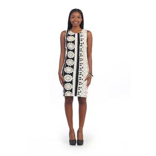 Hadari Women's Black and White Knee-length Sheath Dress