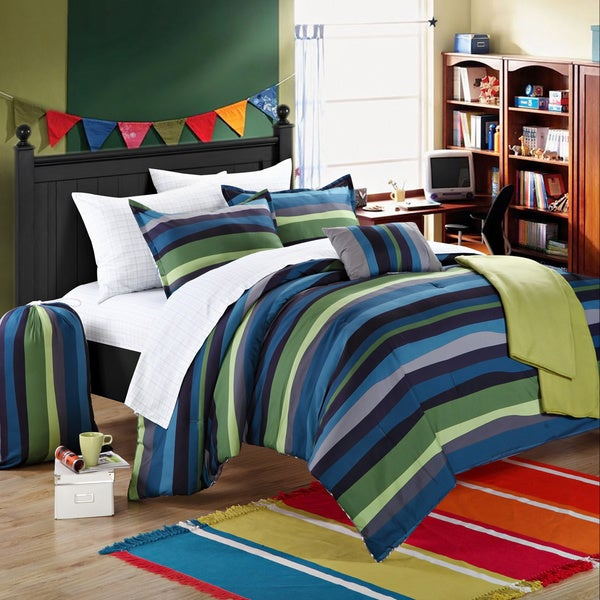 Chic Home Kyle Striped 9-piece Dorm Room Bedding Set