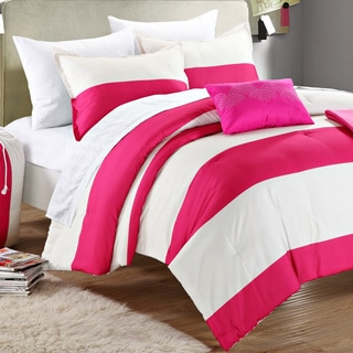 Chic Home Ruby Pink/ Ivory Striped Dorm Room Bedding Set