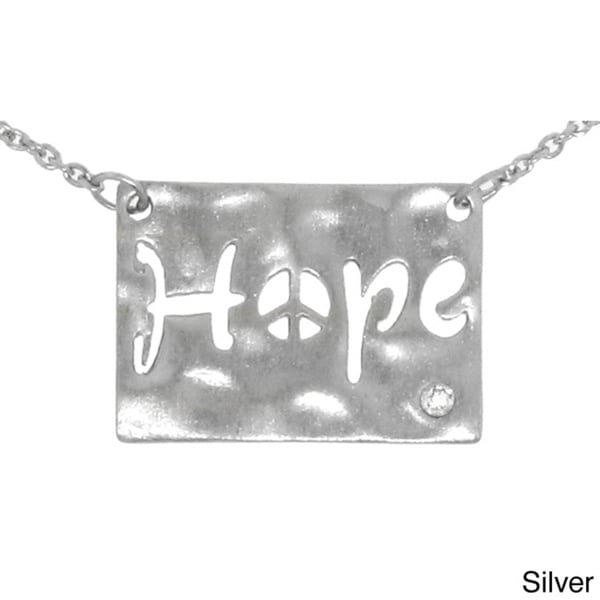Gioelli Sterling Silver Diamond Accent 'Hope' Pendant Necklace