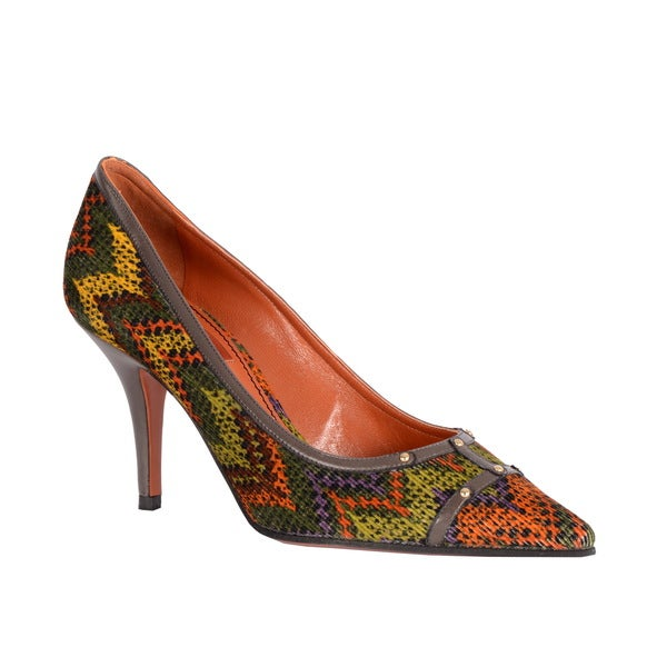 Missoni Women's Leather Trim Fabric Dress Pumps