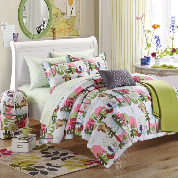 Chic Home Owl Reversible 9-piece Dorm Room Bedding Set