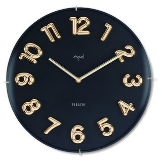 Opal Edgeless Floating Molded Goldtone Figures Dome Glass Clock