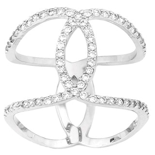 La Preciosa Sterling Silver Cubic Zirconia Interlocking Wide Ring
