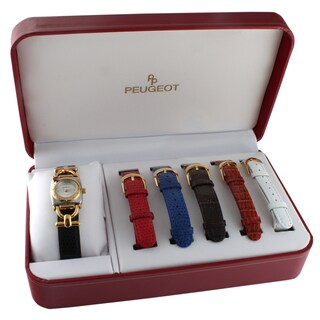 Peugeot Women's 632 Two-tone Interchangeable Leather Strap Watch Gift Set