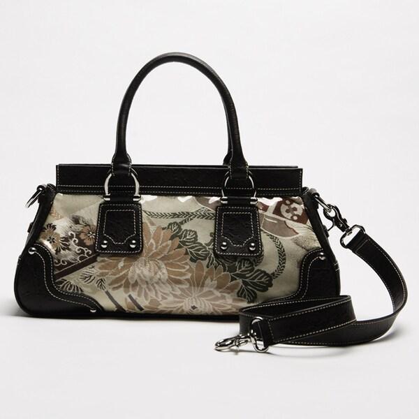 Wa Obi 'Alison' Brown Leather and Fabric Satchel