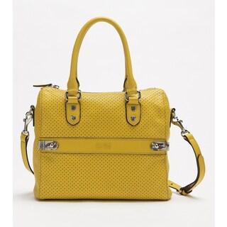 Wa Obi 'Chloe' Yellow Perforated Leather Satchel