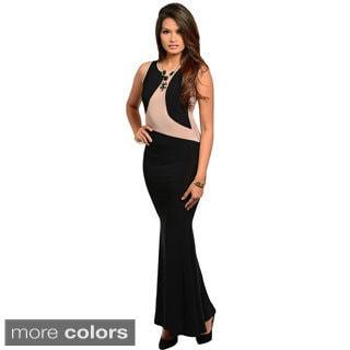 Stanzino Women's Sleeveless Mesh Detailed Long Dress