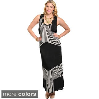 Stanzino Women's Plus Size Geometric Print Long Tank Dress