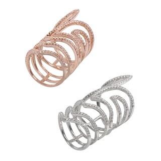 NEXTE Jewelry Skeleton Stone Encrusted Full Finger Ring