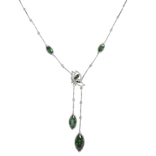 NEXTE Jewelry Green Marquise and White Round Accent Stones Red Carpet Elegant Neckalce