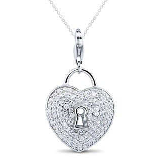 Sterling Silver Cubic Zirconia Heart with Keyhole Necklace