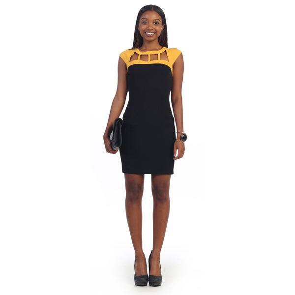 Hadari Women's Black Cut-out Neckline Mini Dress
