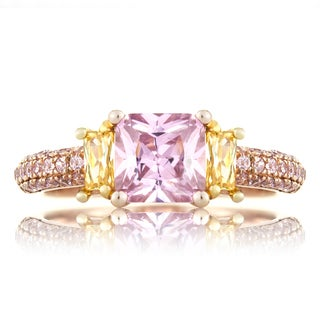 Emitations Rose Gold Pink and Canary Cubic Zirconia 3-stone Engagement Ring