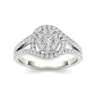 De Couer 10k White Gold 3/8ct TDW Diamond Round Shape Engagement Ring (H-I, I2)