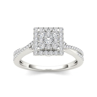 De Couer 10k White Gold 1/2ct TDW Diamond Square Shape Engagement Ring (H-I, I2)