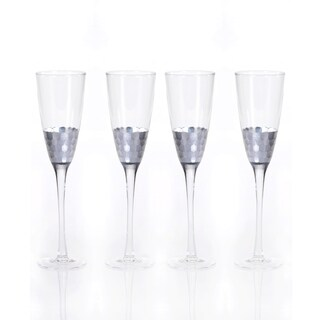 Fez Cut Glass Champagne Flute with Silver Leaf