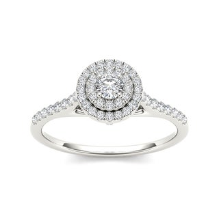 De Couer 10k White Gold 1/2ct TDW Diamond Crossover Shank Halo Engagement Ring (H-I, I2)