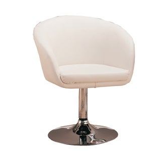 Faux Leather White Swivel Chair