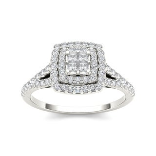 De Couer 10k White Gold 1/2ct TDW Diamond Double Square Halo Engagement Ring (H-I, I2)