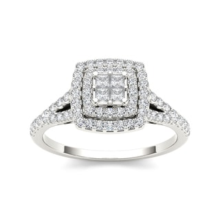 De Couer 10k White Gold 1/2ct TDW Diamond Double Square Halo Engagement Ring (H-I, I2) with Bonus Necklace