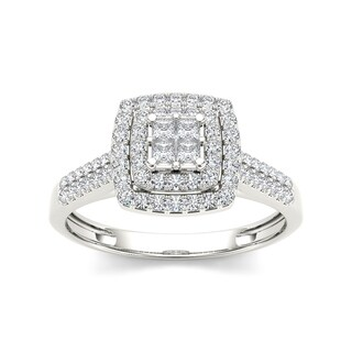 De Couer 10k White Gold 1/2ct TDW Diamond Double Halo Engagement Ring (H-I, I2)