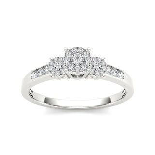 De Couer 10k White Gold 1/3ct TDW Diamond Trilogy Imperial Engagement Ring (H-I, I2) with Bonus Necklace
