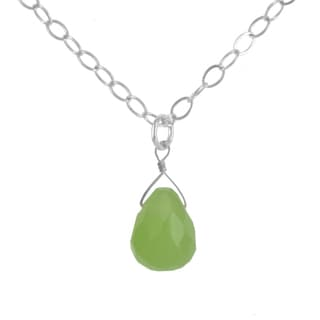 Ashanti Sterling Silver Green Jade Briolette Gemstone Handmade Necklace (Sri Lanka)