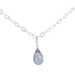 Ashanti Sterling Silver Denim Quartz Briolette Gemstone Handmade Necklace (Sri Lanka)