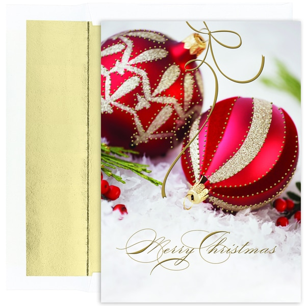 Red/ Gold Merry Christmas Ornaments Boxed Holiday Cards