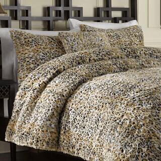 Leopard Faux Fur 3-piece Duvet Cover Set