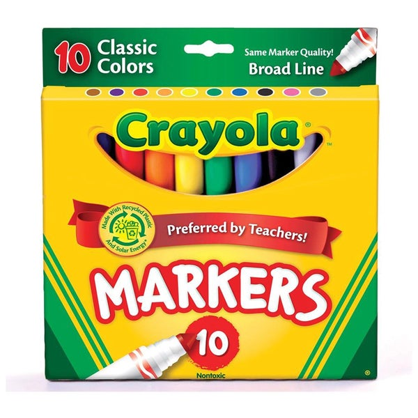 Crayola Assorted Colors Broad Tip Washable Markers (Pack of 10)