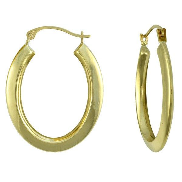 14k yellow gold oval knife edged hoop earrings 16414440 overstock