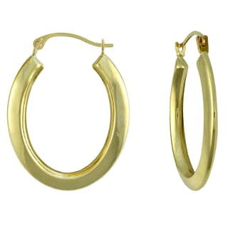 14k Yellow Gold Oval Knife Edged Hoop Earrings