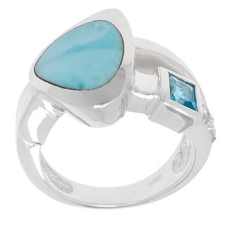 Sterling Silver Larimar and Blue Topaz Ring