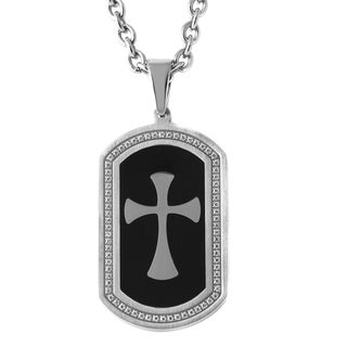 Stainless Steel Men's Cubic Zirconia Two-tone Cross Dog Tag Pendant