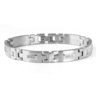 Stainless Steel Men's 1/4ct TDW Diamond Bracelet (H-I, I1-I2)
