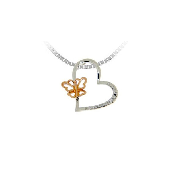 Gioelli Sterling Silver Rose Gold Plated Diamond Accent Butterfly Heart Pendant Necklace