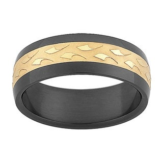Stainless Steel Black and Goldtone Textured Band