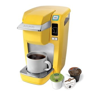 Keurig K-10 Mini Plus Single-Cup Brewer With 6 Count K-Cup Variety Pack - Yellow