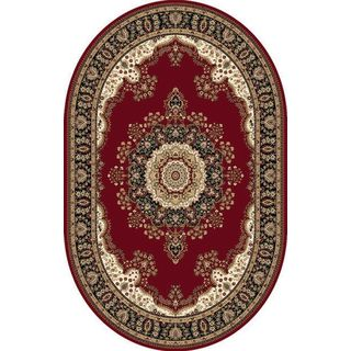 Oval Traditional Red Oval Rug (6'6 x 9'6)