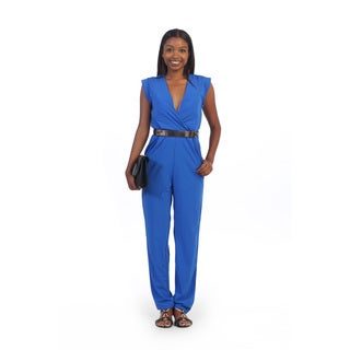 Hadari Women's Royal Blue Belted V-neck Jumpsuit