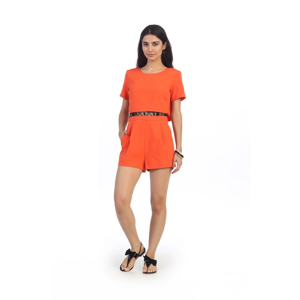 Hadari Juniors Orange Short Sleeve Romper