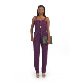 Hadari Women's Purple Sleeveless Tie-waist Jumpsuit