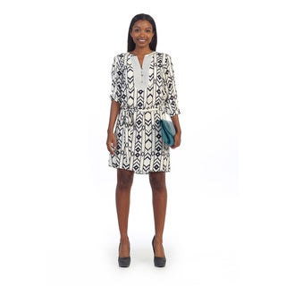 Hadari Women's Black and White Tribal Print Shift Dress