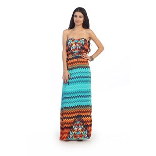 Hadari Juniors Chevron and Floral Strapless Maxi Dress
