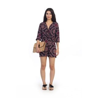 Hadari Juniors Medallion Print V-neck Long Sleeve Romper