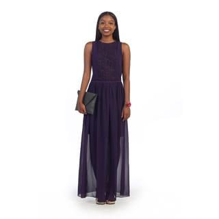 Hadari Women's Purple Chiffon Overlay Maxi Dress